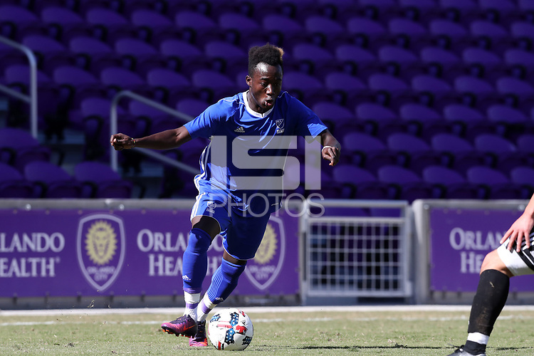 Orlando, Florida - Wednesday January 17, 2018: Edward Opoku. Match Day 3 of the 2018 adidas MLS Player Combine was held Orlando City Stadium.