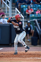 Chattanooga Lookouts catcher Jose Gonzalez (16) at bat during a game against the Jackson Generals on April 29, 2017 at The Ballpark at Jackson in Jackson, Tennessee.  Jackson defeated Chattanooga 7-4.  (Mike Janes/Four Seam Images)