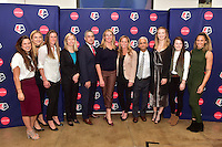 New York, NY - Thursday February 02, 2017: Stephanie McCaffrey, Kristie Mewis, Alyssa Naeher, Amanda Duffy, Jeff Plush, Nancy Dubuc, Christie Rampone, Sunil Gulati, Samantha Mewis, Rose Lavelle, Lynn Williams during a joint NWSL and A+E Networks press conference at the A+E headquarters.