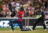 England's Dawid Malan hits a massive 6.<br /> New Zealand Black Caps v England.Tri-Series International Twenty20 cricket. Eden Park, Auckland, New Zealand. Sunday 18 February 2018. &copy; Copyright Photo: Andrew Cornaga / www.Photosport.nz