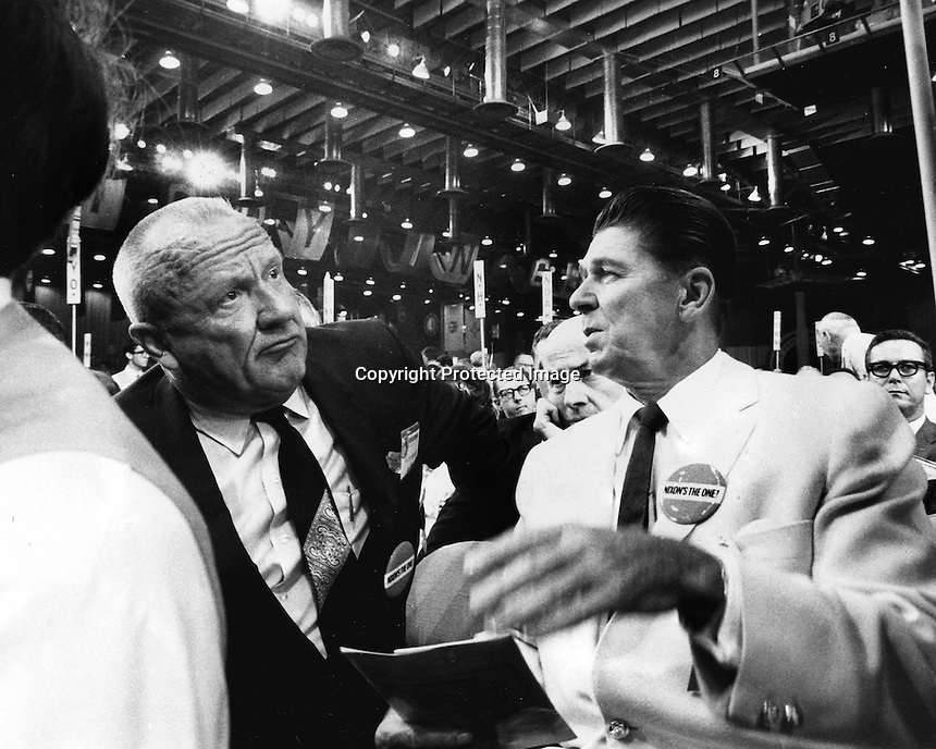 Formen United States Senator William F. Knowland chats with California Governor Ronald Reagan at the Republican National Convention in Miami 1968..(photo by Ron Riesterer)
