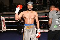 Philip Bowes (grey shorts) defeats Vusumzi Tyatyeka during a Boxing Show at York Hall on 10th February 2018