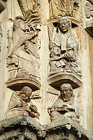 Gothic Archivolts from the Cathedral of Chartres, France.. A UNESCO World Heritage Site. .