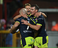 Picture by Anna Gowthorpe/SWpix.com - 02/02/2018 - Rugby League - Betfred Super League - Hull KR v Wakefield Trinity - KC Lightstream Stadium, Hull, England - Wakefield Trinity's Liam Finn is congratulated by his team-mates after scoring a try