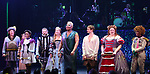 Tom Alan Robbins, Taylor Iman Jones, Jeremy Kushnier, Rachel York, Peppermint, Andrew Durand, Bonnie Milligan and cast during a special curtain call at Broadway's 'Head Over Heels' on July 12, 2018 at the Hudson Theatre in New York City.
