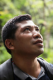 INDONESIA, Flores, portrait of mountain guide Lodi on the trail to Wae Rebo Villlage