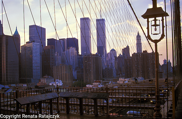 View on the twin towers of the World Trade Center in Manhattan, New York from the Brooklyn Bridge, USA.