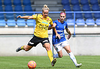 20190807 - DENDERLEEUW, BELGIUM : LSK's Elise Thorsnes pictured being held by the arm by Linfield's Chloe McCarron (right) during the female soccer game between the Norwegian LSK Kvinner Fotballklubb Ladies and the Northern Irish Linfield ladies FC , the first game for both teams in the Uefa Womens Champions League Qualifying round in group 8 , Wednesday 7 th August 2019 at the Van Roy Stadium in Denderleeuw  , Belgium  .  PHOTO SPORTPIX.BE for NTB  | DAVID CATRY