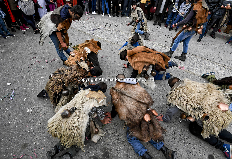 Pictured: The celebration of Apokrigiomata custom in which men dress in hydes, at the village of Gergeri near Heraklion in Crete, GReece. Monday 19 February 2018<br /> Re: Celebration for Clean Monday (Monday of Lent) which marks 40 days before the celebration of Easter according to the Orthodox Religion, Greece