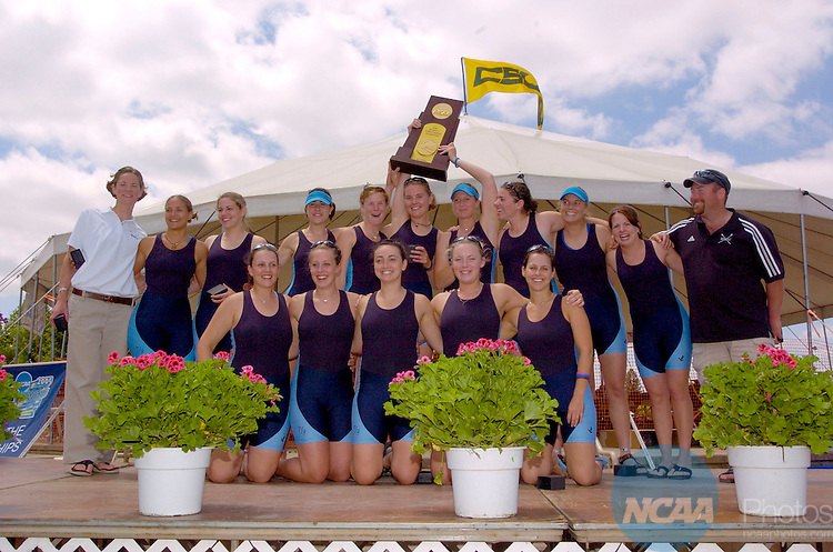 29 MAY 2005: Western Washington University celebrates after placing 1st  in the Division 2 Eights Grand Final during the 2005 NCAA Women's Division 1, 2, and 3 Rowing Championships held at the California State University Sacramento Aquatic Center in Sacramento, CA. José Luis Villegas/NCAA Photos