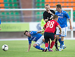 St Johnstone v FC Minsk...01.08.13 Europa League Qualifier at Neman Stadium, Grodno, Belarus...<br /> The Referee steps in to separate Steven MacLean and Paddy Cregg from Mikita Bukatkin<br /> Picture by Graeme Hart.<br /> Copyright Perthshire Picture Agency<br /> Tel: 01738 623350  Mobile: 07990 594431