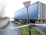 Scene of the truck that jacknifed on the Bridge of Peace in Drogheda. Photo: Colin Bell/Pressphotos.ie