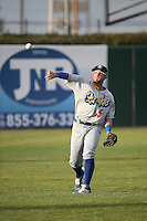 Matt Beaty (5) of the Rancho Cucamonga Quakes throws before a game against the Lancaster JetHawks at The Hanger on April 19, 2016 in Lancaster, California. Rancho Cucamonga defeated Lancaster, 10-6. (Larry Goren/Four Seam Images)