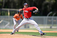 Boston Red Sox pitcher Kyle Kaminska #54 during a minor league Spring Training game against the Baltimore Orioles at Buck O'Neil Complex on March 25, 2013 in Sarasota, Florida.  (Mike Janes/Four Seam Images)