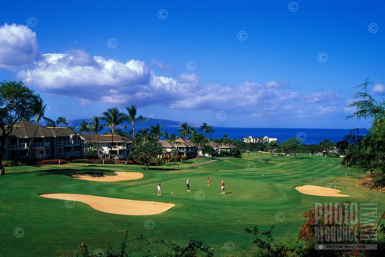 Golfers at Wailea Blue Course, Maui, Hawaii. Architect: Arthur Jack Snyder