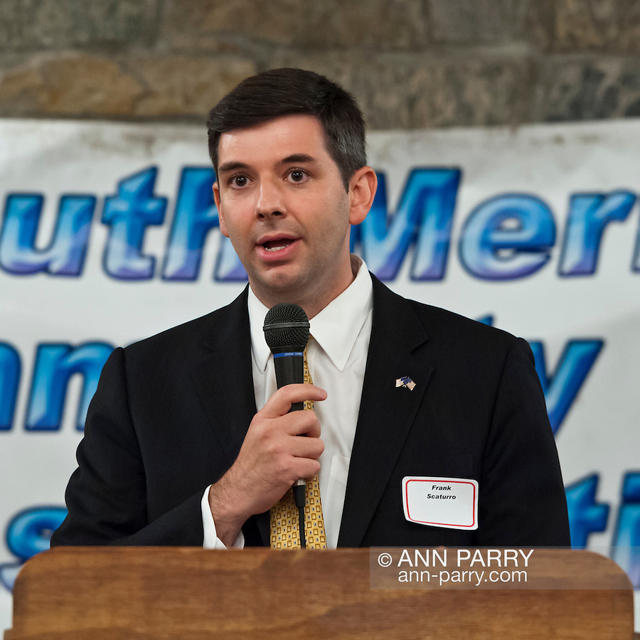 Oct. 23, 2012 - Merrick, New York, U.S. - FRANK SCATURRO (C), a challenger running for Congress, spoke at the 4th Annual Meet the Candidate Night held by civic associations of Merrick, with many in the area in a new congressional district. After briefly addressing the audience, each candidate then went to the lobby where individual community members asked more questions.