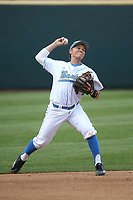 Nick Valaika (4) of the of UCLA Bruins throws from shortstop during a game against the University of San Diego Toreros at Jackie Robinson Stadium on March 4, 2017 in Los Angeles, California.  USD defeated UCLA, 3-1. (Larry Goren/Four Seam Images)