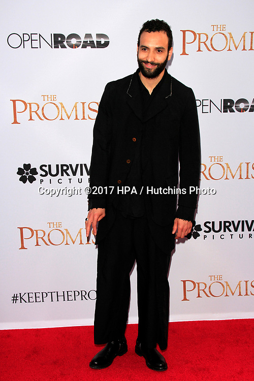 "LOS ANGELES - APR 12:  Marwan Kenzari at the ""The Promise"" Premiere at the TCL Chinese Theater IMAX on April 12, 2017 in Los Angeles, CA"