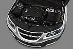 High angle engine detail of a 2011 Saab 95 Vector 4 Door Sedan .