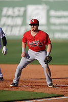 Mississippi Braves first baseman Ryan Casteel (26) during a Southern League game against the Jackson Generals on July 23, 2019 at The Ballpark at Jackson in Jackson, Tennessee.  Jackson defeated Mississippi 2-0 in the first game of a doubleheader.  (Mike Janes/Four Seam Images)
