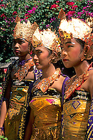Young colorful dancers in full costume in Bali Indonesia
