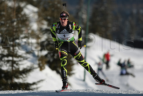 09/12/2011, Hochfilzen, Austria. CLAUDE Florent (FRA) in action during the sprint race of the Biathlon World Cup. Men's Sprint race.