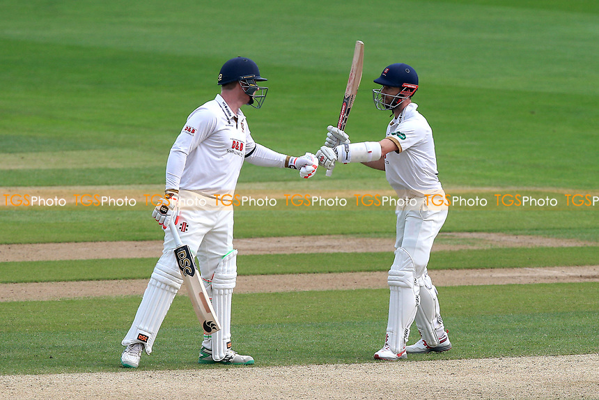 Simon Harmer (L) of Essex congratulated James Foster on reaching his fifty during Essex CCC vs Lancashire CCC, Specsavers County Championship Division 1 Cricket at The Cloudfm County Ground on 21st April 2018