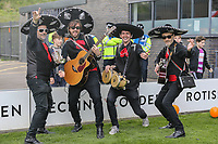 Mariachi band Beato Burrito hired by Grimsby Town fans after Barnet put a ban on inflatables in the ground at half time in the Sky Bet League 2 match between Barnet and Grimsby Town at The Hive, London, England on 29 April 2017. Photo by David Horn.