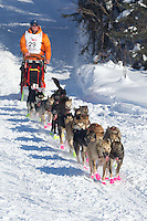 Jake Berkowitz on Long Lake at the Re-Start of the 2012 Iditarod Sled Dog Race