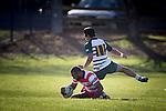 Seremaia Tagicakibau scores one of Karaka's 9 tries. Counties Manukau Premier Club Rugby game between Karaka and Manurewa, played at Karaka, on Saturday June 14 2014. Karaka won the game 63- 24 after leading 32 - 10 at halftime  Photo by Richard Spranger