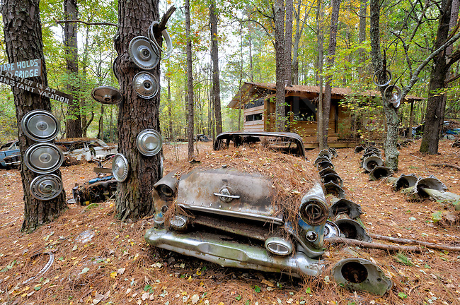 Oldsmobile smothered in pine needles while sitting abandoned in woods clearing with hubcap totem poles and a used transmission pathway.
