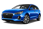 Stock pictures of low aggressive front three quarter view of a 2018 Hyundai i30 Sky 5 Door Wagon