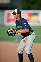 Vermont Lake Monsters first baseman Dustin Harris (21) during a NY-Penn League game against the Aberdeen IronBirds on August 18, 2019 at Leidos Field at Ripken Stadium in Aberdeen, Maryland.  Vermont defeated Aberdeen 6-5.  (Mike Janes/Four Seam Images)