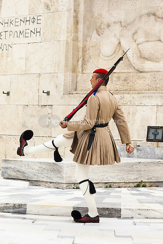 Greek soldier, an Evzone, beside Tomb of the Unknown Soldier, outside Parliament building, Athens, Greece <br /> CAP/MEL<br /> &copy;MEL/Capital Pictures /MediaPunch ***NORTH AND SOUTH AMERICA ONLY***