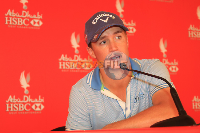 Morning Leader Alexander Noren speaking after finishing his round at 6 under on day one of the Abu Dhabi HSBC Golf Championship 2011, at the Abu Dhabi golf club 20/1/11..Picture Fran Caffrey/www.golffile.ie.