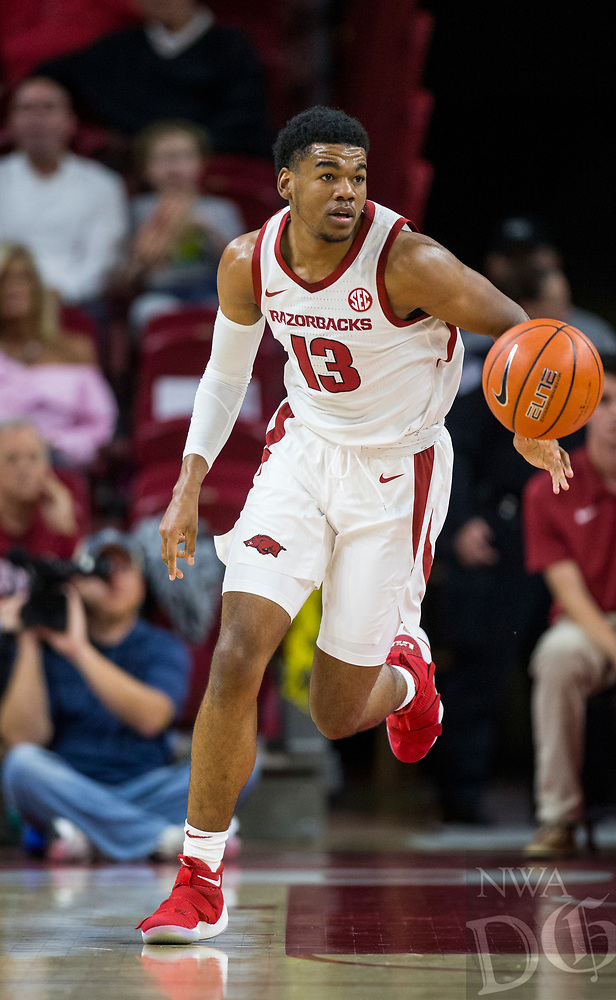 NWA Democrat-Gazette/BEN GOFF @NWABENGOFF <br /> Mason Jones of Arkansas vs Tusculum Friday, Oct. 26, 2018, during an exhibition game in Bud Walton Arena in Fayetteville.