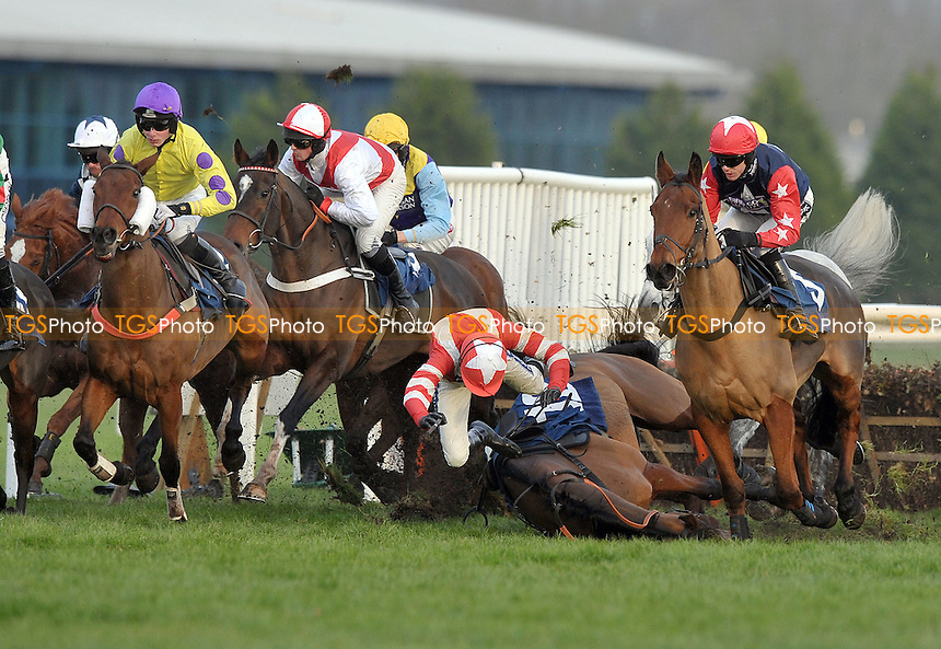 Ruby Walsh takes a crashing fall from Curtain Razer in the Pertemps Handicap Hurdle (Series Qualifier) Cl3  - Horse Racing at Newbury Racecourse, Newbury, Berkshire -30/11/2012 - MANDATORY CREDIT: Martin Dalton/TGSPHOTO - Self billing applies where appropriate - 0845 094 6026 - contact@tgsphoto.co.uk - NO UNPAID USE.