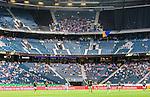Solna 2015-07-12 Fotboll Allsvenskan AIK - GIF Sundsvall :  <br /> Vy &ouml;ver Friends Arena med publik, tomma l&auml;ktarsektioner och Sundsvalls supportrar p&aring; &ouml;vre etage under matchen mellan AIK och GIF Sundsvall <br /> (Foto: Kenta J&ouml;nsson) Nyckelord:  AIK Gnaget Friends Arena Allsvenskan GIF Sundsvall Giffarna inomhus interi&ouml;r interior supporter fans publik supporters