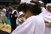 5 March 2007: Cissy Pierce kisses the trophy during Stanford's 62-55 win over ASU in the finals of the women's Pac-10 tournament championship at HP Pavilion in San Jose, CA.