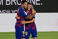 8th July 2020; Camp Nou, Barcelona, Catalonia, Spain; La Liga Football, Barcelona versus Espanyol; Luis Suarez celebrates after scoring with Sergi Roberto in minute 56 for 1-0