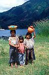 Three young girls Lake Atitlan, Guatemala, central America,