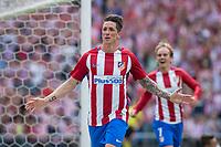 MADRID, ESPAÑA - 21 DE MAYO DE 2017: Fernando Torres celebra el primer gol de Atlético de Madrid durante el encuentro entre el Atlético de Madrid y Athletic Club de Bilbao, correspondiente al partido de la 38 jornada de liga, disputado en el Estadio Vicente Calderón. (Foto: Mateo Villalba-Agencia LOF)