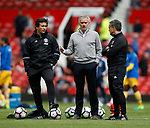 Jose Mourinho manager of Manchester United talks to his coaches before the English Premier League match at the Old Trafford Stadium, Manchester. Picture date: May 21st 2017. Pic credit should read: Simon Bellis/Sportimage