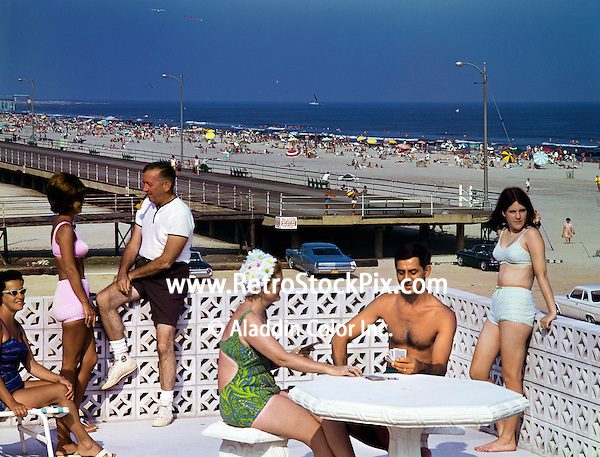 Playing cards on the sundeck of the Aqua Motel in Wildwood, NJ. 1960's photograph.