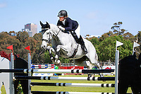 AUS-Tayah Andrew rides Silver Force during the CCI2*YR Showjumping. 2016 AUS-Australian International 3DE. Sunday 6 November. Photo Copyright: Libby Law Photography