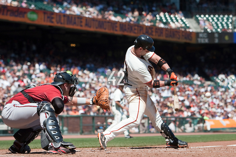19 April 2009: San Francisco Giants' Aaron Rowand makes contact during the San Francisco Giants' 2-0 win  against the Arizona Diamondbacks at AT&T Park in San Francisco, CA.