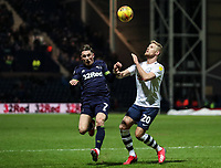 Preston North End's Jayden Stockley competing with Derby County's Harry Wilson  <br /> <br /> Photographer Andrew Kearns/CameraSport<br /> <br /> The EFL Sky Bet Championship - Preston North End v Derby County - Friday 1st February 2019 - Deepdale Stadium - Preston<br /> <br /> World Copyright © 2019 CameraSport. All rights reserved. 43 Linden Ave. Countesthorpe. Leicester. England. LE8 5PG - Tel: +44 (0) 116 277 4147 - admin@camerasport.com - www.camerasport.com