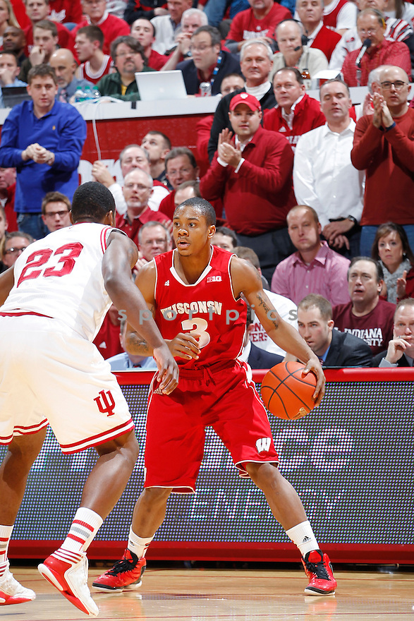 BLOOMINGTON, IN - JAUNARY 15: George Marshall #3 of the Wisconsin Badgers handles the ball against the Indiana Hoosiers during the game at Assembly Hall on January 15, 2013 in Bloomington, Indiana. Wisconsin defeated Indiana 64-59. George Marshall
