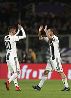 Calcio, Serie A: Fiorentina - Juventus, stadio Artemio Franchi Firenze 1 dicembre 2018.<br /> Juventus' captain Giorgio Chiellini (r) celebrates after scoring with his teammate Rodrigo Bentancur (l) during the Italian Serie A football match between Fiorentina and Juventus at Florence's Artemio Franchi stadium, December 1, 2018.<br /> UPDATE IMAGES PRESS/Isabella Bonotto