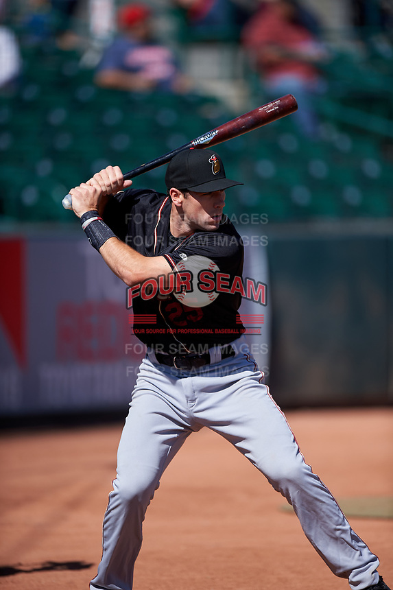 Modesto Nuts shortstop Johnny Adams (25) warms up before a California League game against the Inland Empire 66ers on April 10, 2019 at San Manuel Stadium in San Bernardino, California. Inland Empire defeated Modesto 5-4 in 13 innings. (Zachary Lucy/Four Seam Images)